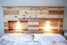 #DIY Pallet Headboard with Lights. Some great ones in here!
