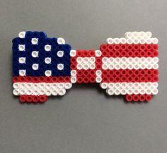 Super cute American flag bow perler pattern
