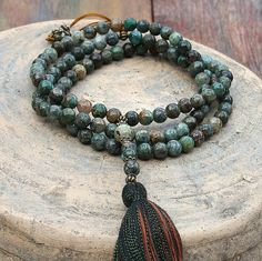 Beautiful azurite mala necklace by look4treasures on Etsy