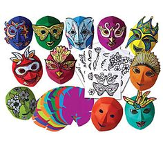 "R52081 Mardi Gras Color Diffusing Masks Ages 4+ Use water color paint, crayons, markers and glitter glue to decorate the printed color diffusing paper. Cut out the features and glue them onto the brightly colored fold-up masks. 8 1/2 x 11"" (21 x 27 cm). Includes teacher guide. 30 masks, 21 sheets of printed color diffusing paper."