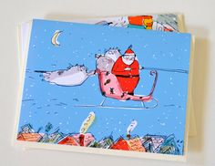 Stowaways Christmas Card Cats Santa Holiday Card by jamieshelman, $6.00