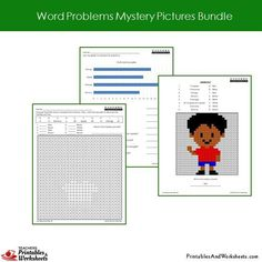 Grade 2 Word Problems Mystery Pictures Coloring Worksheets - Boy 2nd Grade Math Worksheets, Teacher Worksheets, Second Grade Math, Grade 2, Coloring Worksheets, Coloring Pages, Addition Words, Problem Set, Bar Graphs