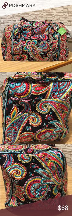 """Vera Bradley large duffel Parisian Paisley Vera Bradley Large Duffel Bag  22"""" W x 11½"""" H x 11½"""" D with 15"""" strap drop 15"""" strap drop Handy outside end pocket Also handy for storing sweaters and out of season clothes Folds flat for easy storing Ships Free from a smoke-free environment Vera Bradley Bags Travel Bags"""