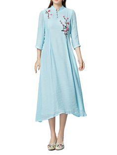 Elegante flor bordado mulheres botão linho vestido maxi
