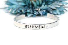 Bye Felicia Hand Stamped Cuff Bracelet  by AshleyLorrenDesigns