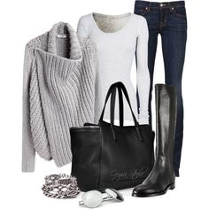 gray slouch sweater and boots