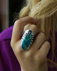 RESERVED - The Deepest Blue - Chrysocolla and Malachite Sterling Silver Ring