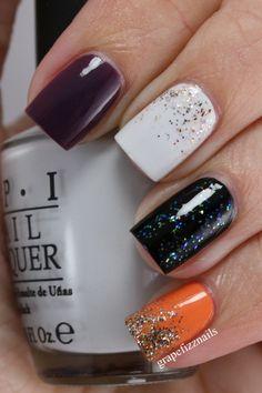 black, white, & orange #nails #Promplace