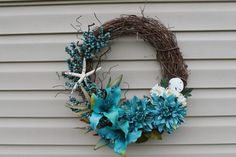 Summer wreath Beach decor Spring wreath by JBakerDesign on Etsy