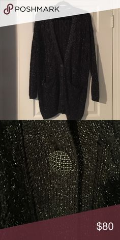 Sweater with black and silver threads Long sleeve sweater with black and silver threads Free People Sweaters Cardigans