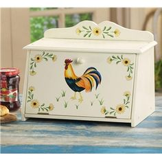 Rooster And Sunflower Pattern Bread Box