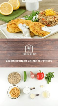 Mediterranean Chickpea Fritters With Herbed Quinoa and Tzatziki Sauce (use vegan yogurt) Chef Recipes, Dinner Recipes, Cooking Recipes, Healthy Food Options, Healthy Recipes, Chickpea Fritters, Homemade Tzatziki Sauce, Clean Eating, Healthy Eating