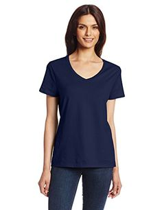 Hanes Women's Short Sleeve Nano-T V-N…