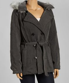 Another great find on #zulily! Charcoal Hooded Belted Peacoat - Plus by Dollhouse #zulilyfinds