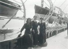 "Grand Duchesses Maria,Olga and Tatiana Nikolaevna Romanova of Russia on board the Imperial Royal yacht,the Standart in 1913.  ""AL"""