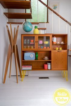 Hello Retro G PLAN E Gomme Mid Century Danish Influence Teak Sideboard Highboard Record storage cocktail cabinet on yellow hairpin legs