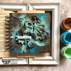 """Project from Brand Ambassador Reniferove. You can find her at @reniferove """"patina effect always makes my heart warm 💙 I used @finnabair_studio Patina Effect Pastes to create this journal cover"""" Click to check out our products #primamarketinginc #createwithprima #PrimaMarketing #Prima #PrimaFlowers #scrapbook #mixedmedia #art #embellishment #flowers #Finnabair #Finnabairmixedmedia Finnabair Mixed Media, Wallpaper Stencil, Small Canvas, Wood Canvas, Journal Covers, Metallic Colors, Medium Art, Mixed Media Art, Past"""