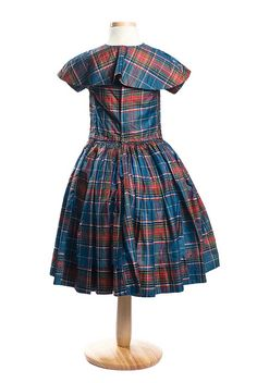 Girl's silk plaid dress, c. 1850s, with shirred bodice and detachable shoulder cape
