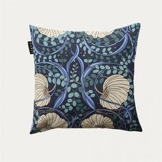 Discover this Dark charcoal grey floral print cushion cover inspired by the Art Nouveau era. Outdoor Cushions, Cushion Fabric, Cozy Furniture, The Hamptons, Cushions, Scatter Cushions, Cushion Cover, Hamptons Style, Blue Cushion Covers
