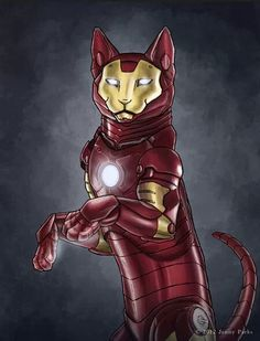 Purrfect! I love #IronMan and #cats♥