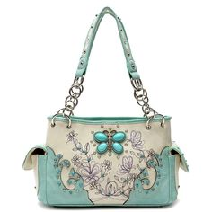 Cowgirl Trendy Mint Western Butterfly Concealed Carry Purse Handbag Shoulder Bag (Mint). Cowgirl trendy western handbag is made of imitation leather with fabric lining on the inside. Butterfly made of aqua beads, rhinestones, silvertone hardware and flower and butterfly designs decorate the front of the bag. Zip top closure; two zipper pockets on the inside. One secure zippered pocket on the outside (for a conceal carry gun sized 5 inch x 9 inches long ) can be used fit a 5 inch…