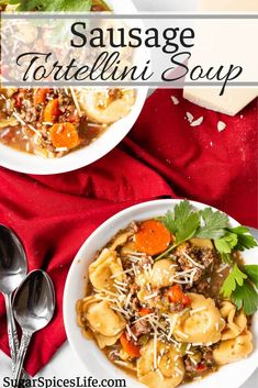 Vegetables, sausage and cheese tortellini in a flavorful broth. This Sausage Tortellini Soup will warm your soul! It's easy to make and yet still full of wonderful flavor. Try the recipe as a wonderful dinner, appetizer, or side dish! Pork Recipes For Dinner, Best Pasta Recipes, Easy Soup Recipes, Perfect Pasta Recipe, Sausage Tortellini Soup, Healty Dinner, Sausages, It's Easy, Vegetable Recipes