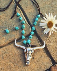COWGIRL Bling BIG LONGHORN Western Faux Turquoise Boho Gypsy NECKLACE set #Unbranded