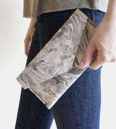 Marble-Dyed Leather Envelope Wallet