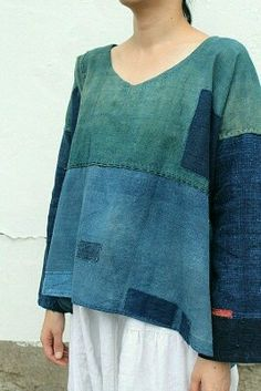 """""""SASAKI-JIRUSHI"""" Japanese boro patchwork indigo shirt Made by us Material:Antique century) Color:Natural indigo Recycled Denim, Shirts & Tops, Mode Inspiration, Sewing Clothes, Refashioning, Dressmaking, Cool Outfits, Cotton, How To Wear"""