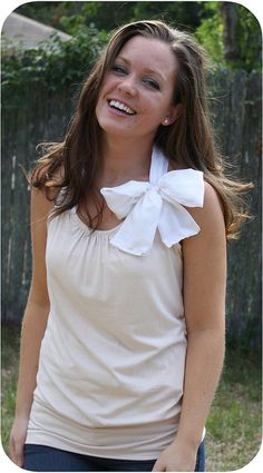 Use an old t-shirt to make a cute new halter top! -- Not big on the bow, but great otherwise
