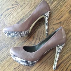 """Reduced***BCBGMaxAzria Leather Pumps 8.5 BCBGMaxAzria leather pumps in taupe with snakeskin detail on the heel and the platform.  Never been worn, comes with the original box. Heel 5"""" with 1"""" platform. BCBGMaxAzria Shoes Heels"""