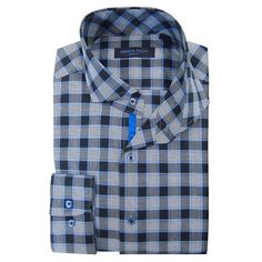 Men's Andrew Fezza Slim-Fit Comfort Flex Collar Dress Shirt, Size: 16.5, Blue Other