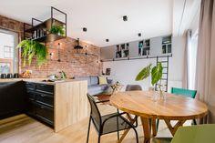 Kitchen Storage, Modern, Furniture, Living Room, House, Comfy Sofa, Industrial Living, Wooden Kitchen, Brick Wall