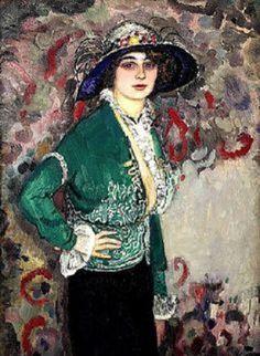Jan Sluijters, Dutch 1881 - 1957 A Portrait of a Lady with a Hat Dutch Artists, New Artists, Post Impressionism, Impressionist, Van Gogh, Painted Hats, Gauguin, Georges Seurat, Feminine Mystique