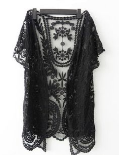 Womens Crochet Knitted Open Vest Boho Casual Summer Cover-Up Tops Blouse (black)