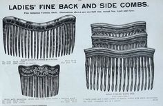 Late Victorian and Edwardian back combs from a trade catalogue
