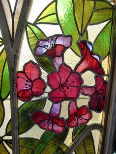 "detail of art noveau ""Winter Garden"" stain glass by Joseph Janin (1851-1910), École de Nancy, France"