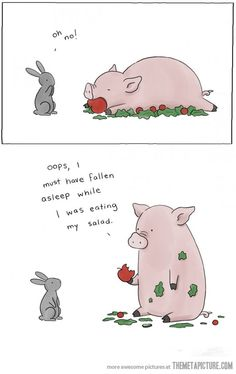 Healthy Eating [COMIC] Here at The FluffPo, we love two things above all else: the Cute, and the Funny. That's why when we discovered Liz Climo's adorable and hilarious animal comics, it was love at. Funny Animal Comics, Animal Memes, Funny Comics, Funny Animals, Cute Animals, Witty Comics, Clever Animals, Talking Animals, Memes Humor