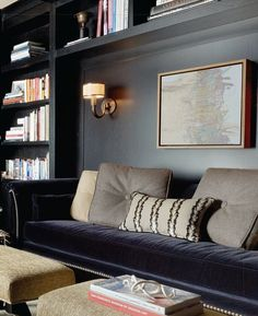 "Not for color or anything other then to show how bookshelves could wrap around a settee that could be seating for one side of a dining table up on the dining area ""stage"":"