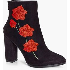 Boohoo Bella Floral Stitch Block Heel Boot   Boohoo ($42) ❤ liked on Polyvore featuring shoes, boots, high heel boots, synthetic boots, block heel boots, flatform shoes and twisted boots