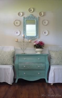 Paint out your flea market chest and mirror to bring new life into newly created set. OH OH OHHHH i have that MIRROR! :)