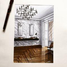 #скетч #дизайн #интерьер #маркеры #sketch #sketching #marker #design…