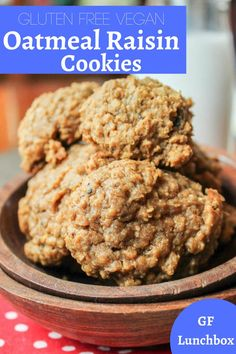 Chewy and wonderful oatmeal cookies made without dairy, eggs, or gluten! Vegan Oatmeal Raisin Cookies, Free Friends, Gluten Free Cookies, Vegan Gluten Free, Gluten Free Recipes, Real Food Recipes, Lunch Box, Desserts, Diva