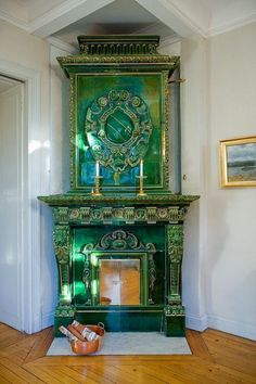 Swedish Faience stove. Faience is a word for fine tin-glazed pottery. The word originates from Faenza a town in Italy where the style (and technology, as its invention was a great leap forward in the pottery world) seems to have spread from to other parts of Europe. It is the same glaze that is used in delft or majolica pottery, and became very common for use in wood stoves used for heating homes and palaces. The stoves are still commonly found in Scandanavia and range from simple white…