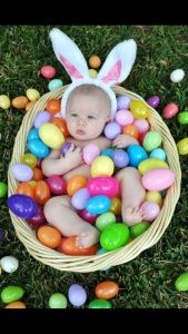 baby in easter basket with easter eggs picture ideas