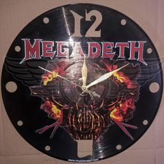 VINYL PLANET Wall Clock MEGADETH 2 Gift Home Record Unique Decor upcycled 12''