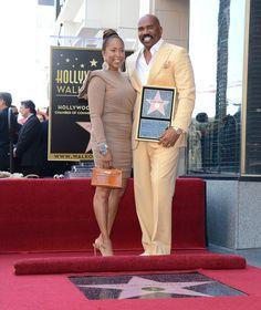 Steve Harvey & Wife Marjorie Harvey: Honored at Hollywood Walk Of Fame. 5/13