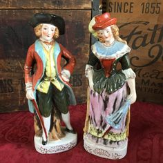 Colonial Man and Woman Made in Japan, Handpainted Figurines / Staffordshire England Style by SunshineVintageGoods on Etsy