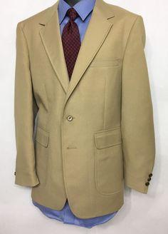 Vintage Mens Beige Blazer Size 40R | 2 Brass Tone Button Sport Coat #unknown #TwoButton