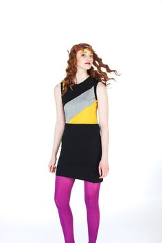 Yellow & Grey Color Block Dress by viciousthreads on Etsy, $50.00